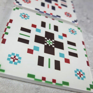Green/Burgundy welsh tapestry Coaster