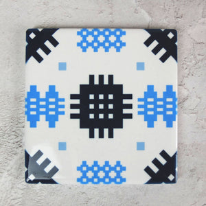 Navy/Blue welsh Tapestry Ceramic Coaster