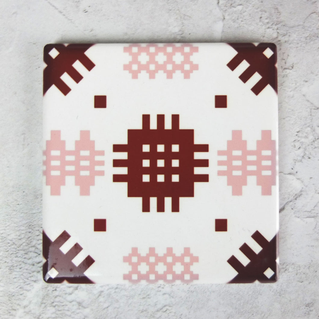 Pink/Burgundy Welsh Tapestry Ceramic Coaster