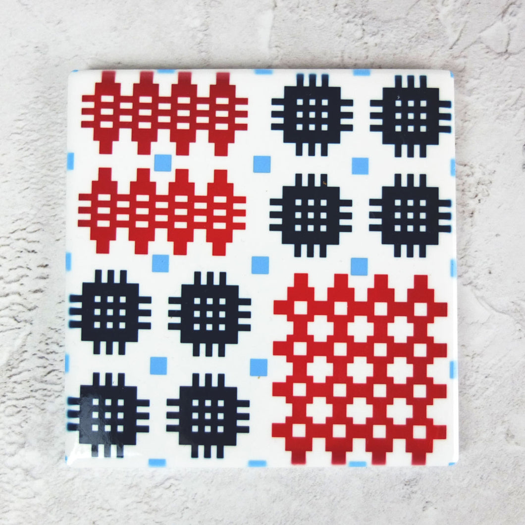 Blue/Red Welsh Tapestry Ceramic Coaster