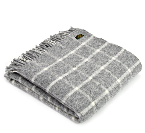 Grey Chequered Check Throw by Tweedmill