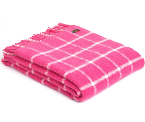 Pink Chequered Check Throw by Tweedmill