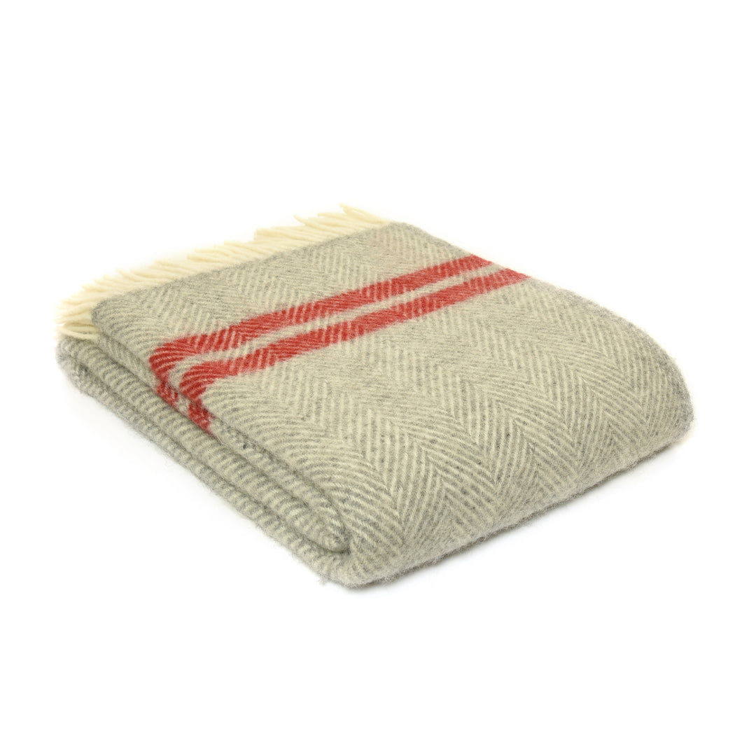 Grey and Red Two Stripe Throw by Tweedmill