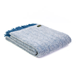 Ink/Silver Herringbone Throw by Tweedmill