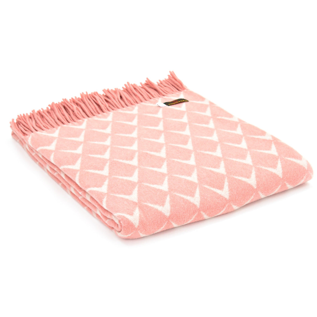 Merino Coastal Nefyn Pink Blanket by Tweedmill