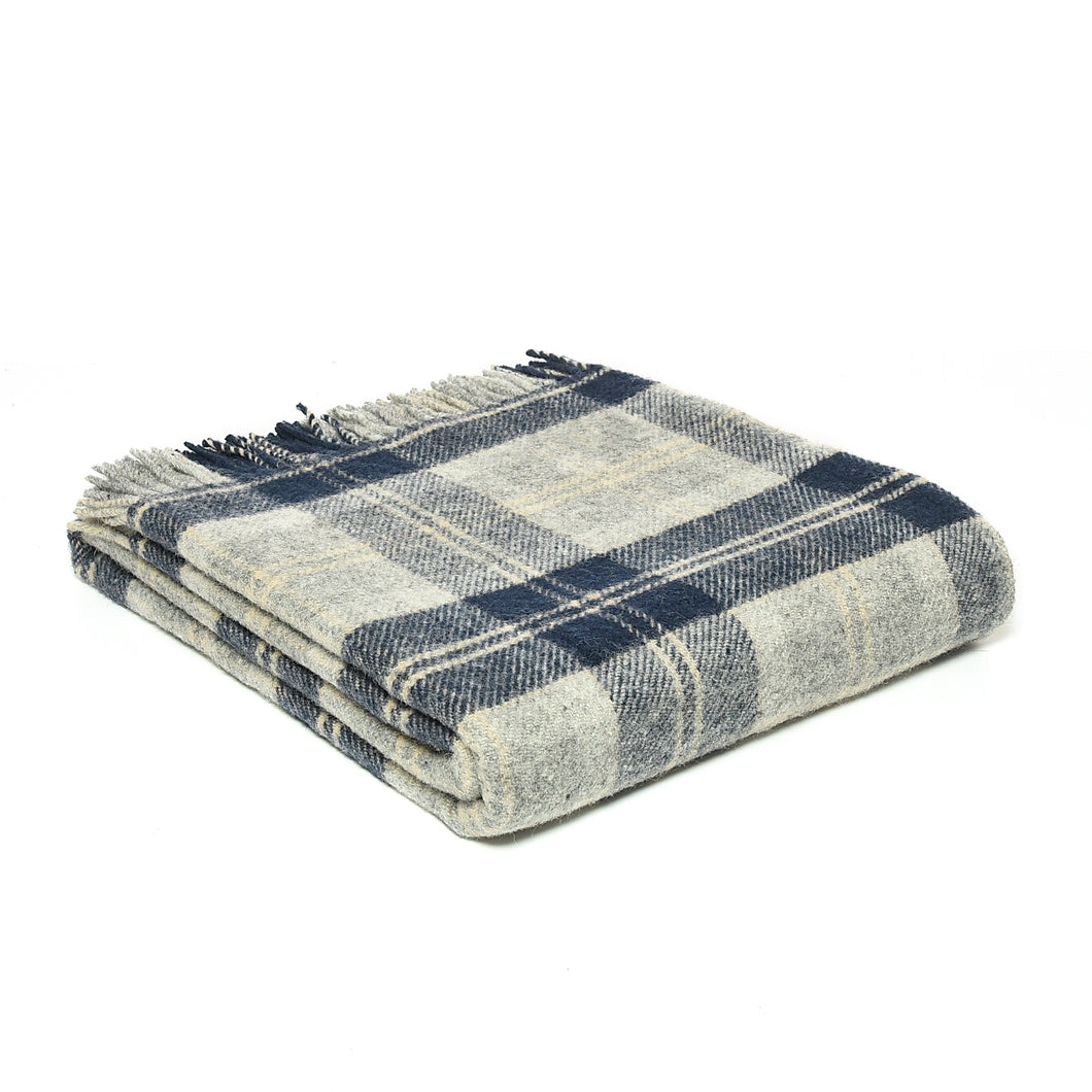 Navy Bannockbane Tartan Throw by Tweedmill