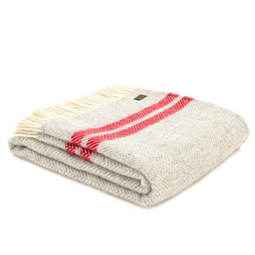 Tweedmill Watermelon Fishbone Two Stripe Welsh Throw
