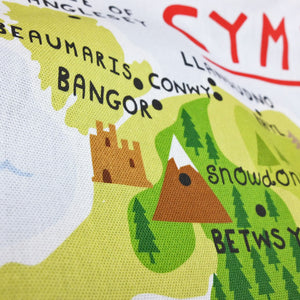 Wales Map Tea Towel