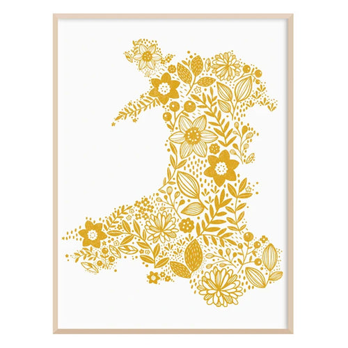 Wales in Bloom Print  - Mustard