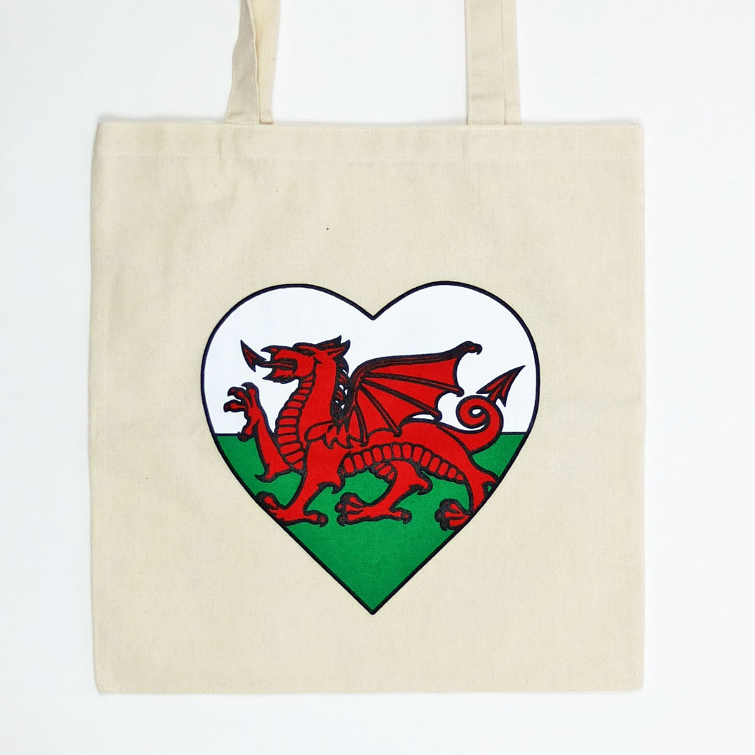 Welsh Flag Heart Tote Bag
