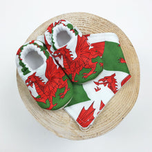 Welsh Flag Baby Shoes by Freckles and Daisies