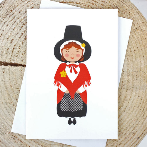 Welsh Lady Greeting Card by Sarah Morley