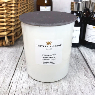 Cartref A Gardd Large Candle - Welsh Slate and Gardenia