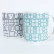 Welsh Tapestry print Mug in Turquoise Green