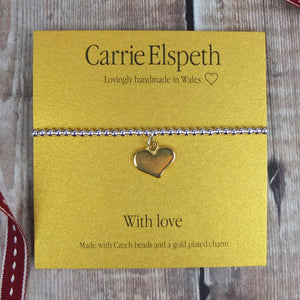 With Love Sentiment Bracelet by Carrie Elspeth