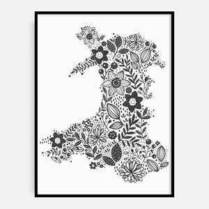 Charcoal Wales in Bloom Print