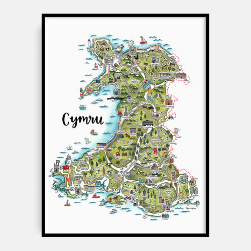Welsh Language Map of Wales Print