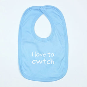 I Love to Cwtch Baby Bib in Pale Blue