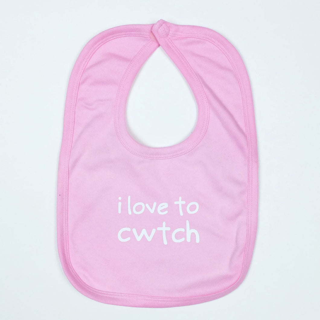 I Love to Cwtch Baby Bib in Pink