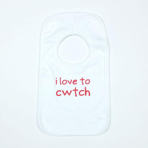 I Love to Cwtch Baby Bib in White