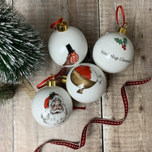 Nadolig Llawen Santa Bone China Bauble