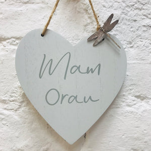 Mam Orau Wooden Heart with Dragonfly