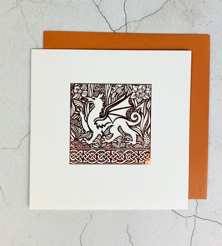 Copper Foil Welsh Dragon Card