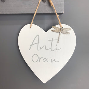 Anti Orau Wooden Heart with Dragonfly