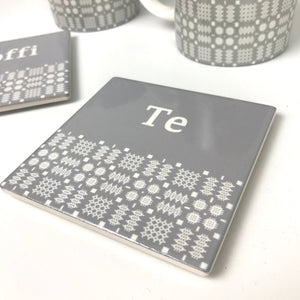 Te Welsh Tapestry Coaster in Grey