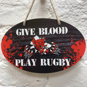 Give Blood Play Rugby Plaque