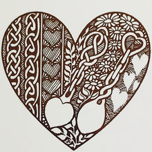Copper foil love spoon heart Penblwydd Hapus card