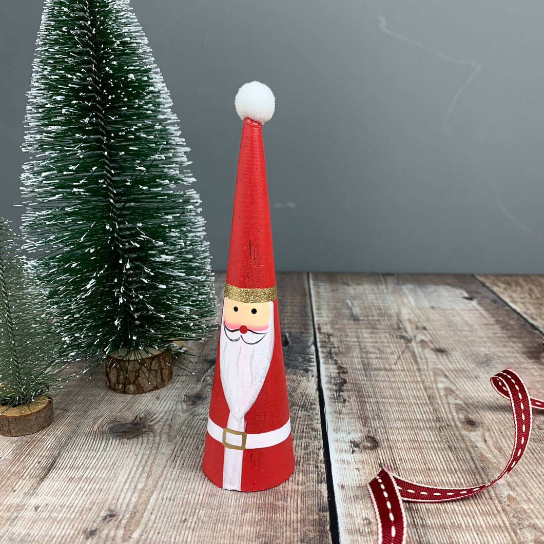 Conical Wooden Santa Decoration