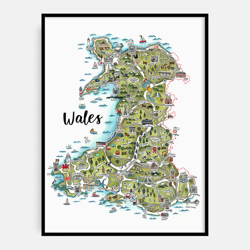 English Language Map of wales