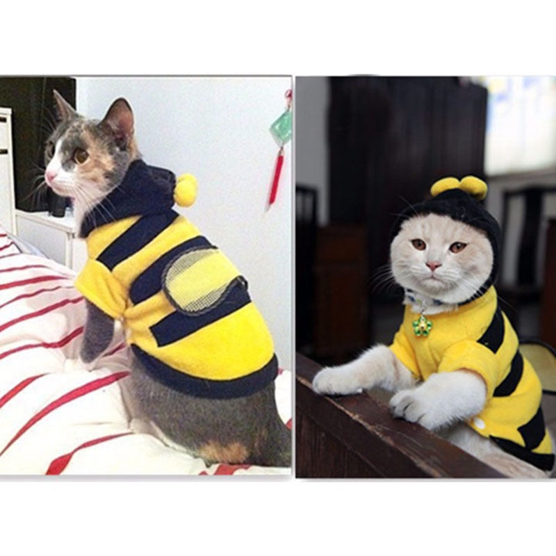 Top Selling Pet Sweaters Cute Bees Dog Cat Clothes Soft Fleece Clothing Pet Product Supplies Accessories