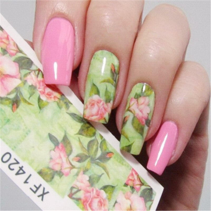 1 sheet Full Nail Water Decals Green Lotus Pattern Transfer Sticker Nail Art Stickers 10 Nails XF1420 #16217