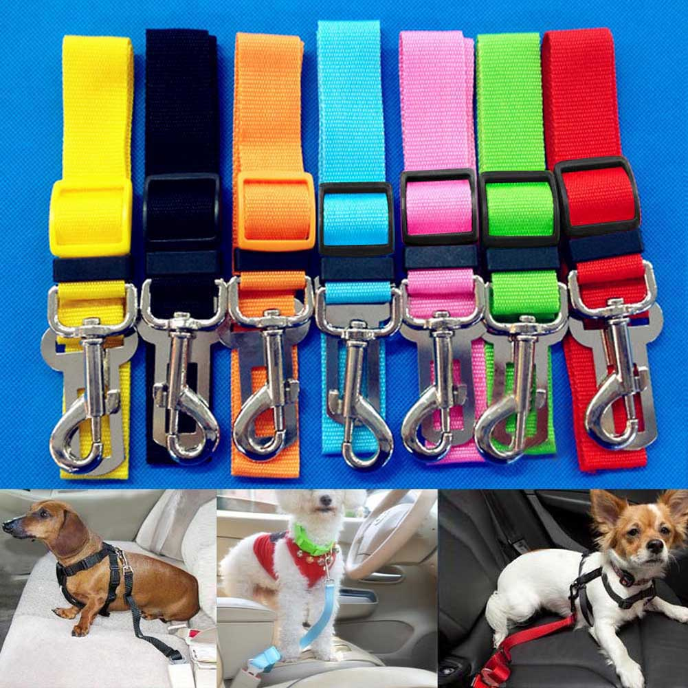 Top Selling Dog Collars Adjustable Dogs Collars Pets Cat Car Safety Belt Dog Harness Restraint Lead Dog Leash travel Clip pet supplies dog accessories