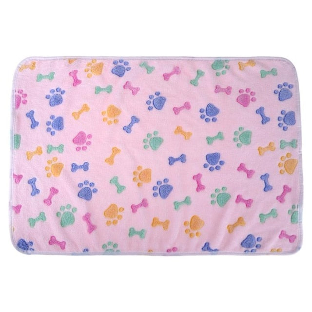 Pet Sleeping Mat Winter Warm Coral Fleece Dog Cat Blanket Soft Animals Dog Mat Beds Bone Paw Print Pet Cushion Carpet