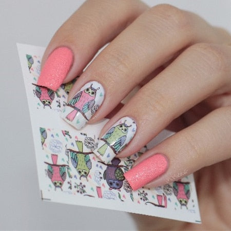 BORN PRETTY Flower Leaf Feather Nail Water Decals Floral Designed Transfer Stickers Manicure Nail Art Sticker