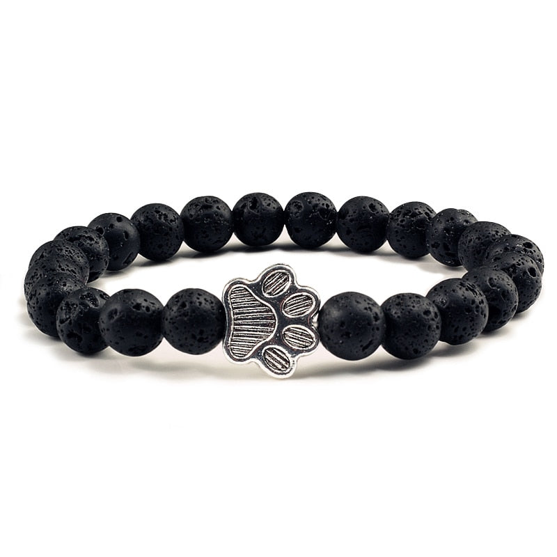 Top Selling Pet Bracelet Natural Matte Black Lava Volcanic Stone Paw Print Charm Bracelet Homme Femme Pet Memorial Cat Dog Lovers Jewelry Bracelets Gifts