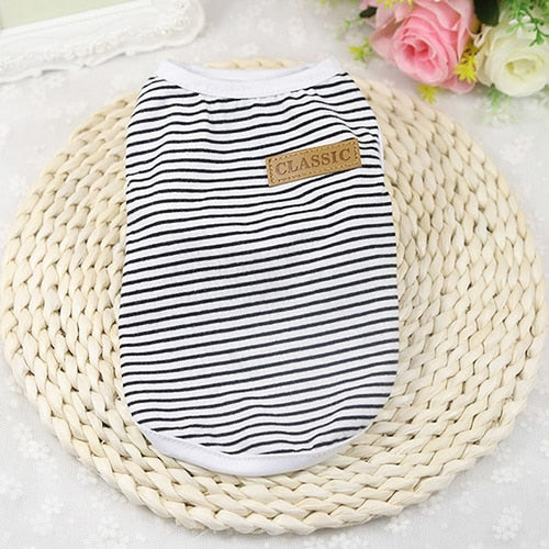 Best Selling Summer Cat Clothes Cotton Striped Vest Pet Cat T Shirt Clothing For Cat Outfit Shirt Pet Clothes 25S2