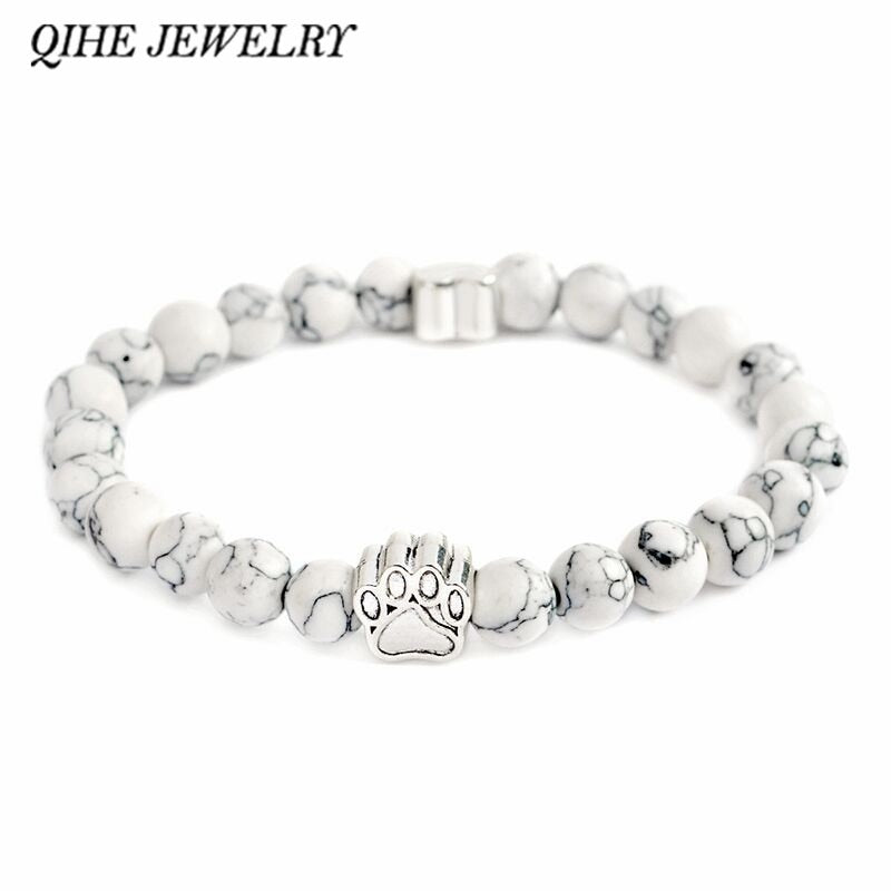 Top Selling Pet Bracelete Antique Silver Paw Charm Stone Bracelet Pet Memorial Cat Dog Lovers Jewelry For Men Women Unisex