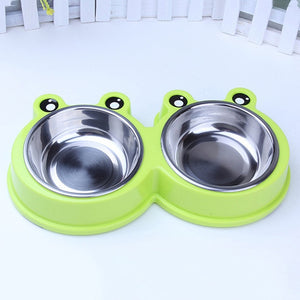 Top Selling Pet Bowls & Feeders 2018 Pet Dog Cat Puppy Travel Feeding Feeder Double Food Bowl Water Dish Cute Frog Pet Feeding Bowl