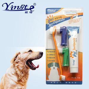 HOUSEEN Pet Toothbrush Set Hot Puppy Vanilla/Beef Taste Toothbrush Toothpaste Dog Cat Finger Tooth Back Up Brush Care Wholesales