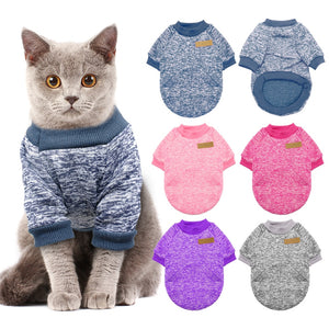 Warm Dog Cat Clothing Autumn Winter Pet Clothes Sweater For Small Dogs Cats Chihuahua Pug Yorkies Kitten Outfit Cat Coat Costume