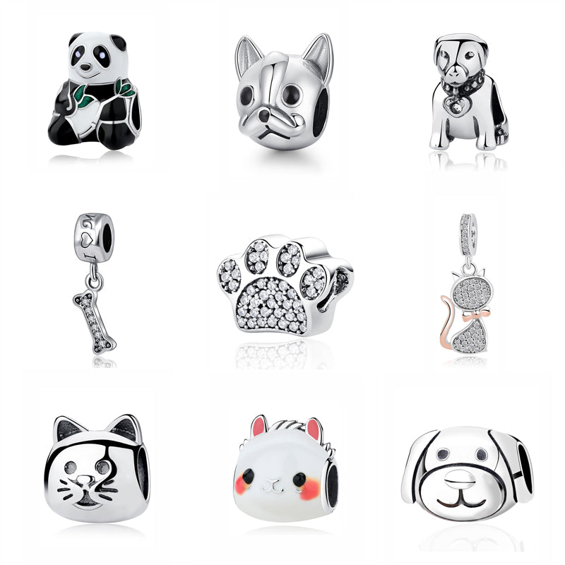 Top Selling Pet Bracelet Sterling Silver Charm Bead Love Pets Dog Cat Paw Print Panda Pendant Charms Fit Pandora Bracelets Women DIY Jewelry