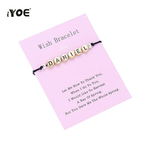 IYOE Custom Made Wish Charm Name Bracelet Random 26 Letter Lover Firendship Pet Dog Cat Name Couple Bracelets For Women Men Kids