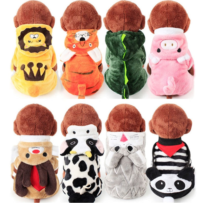 Best Selling Pet Cat Costume Halloween Puppy Dog and Cat Clothes Kitty Cat Cartoon Animal Costume Comfortable Fleece Hoodies Apparel XS-XL