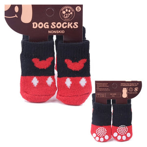 Warm Puppy Dog Shoes Soft Acrylic Pet Knits Socks Cute Cartoon Anti Slip Skid Socks For Small Dogs Pet Products
