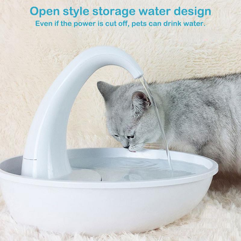 19 New Swan Pet Water Dispenser Cat Feeding Water Flowing Fountain Cat With Water Dispenser Automatic Recycling Home Essential