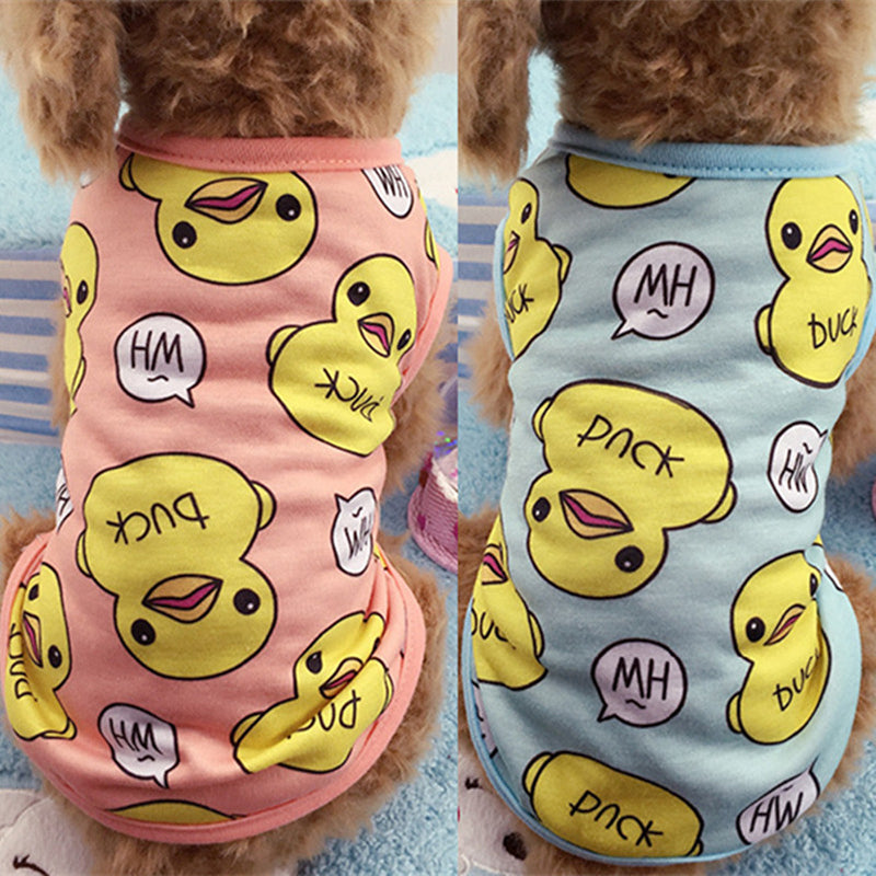 Cute Pet Dog Clothes For Small Dogs Duck Printed Spring Puppy Cat Cotton T-shirt Vest Summer Pet Clothing Chihuahua Pug Shirts